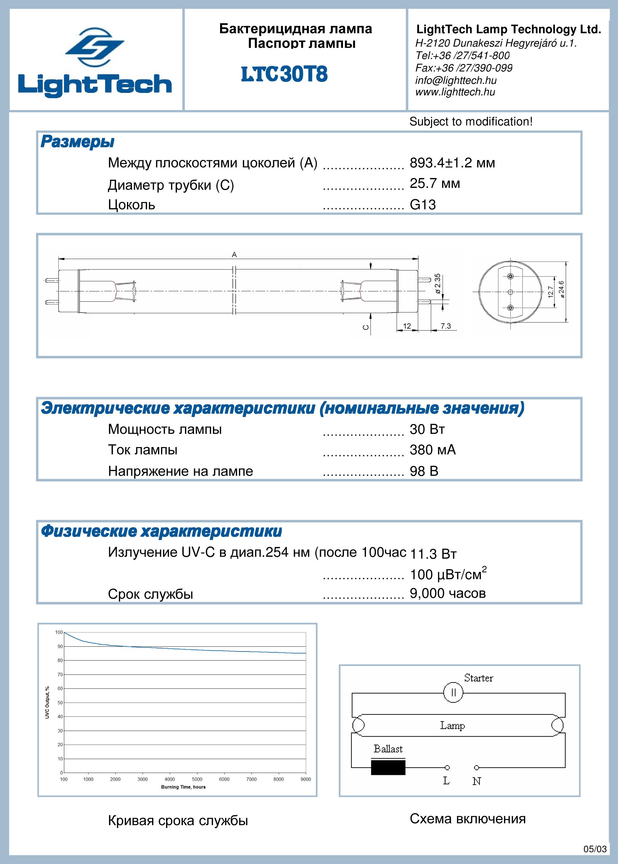 Tuv 30w g30 t8 схема включения